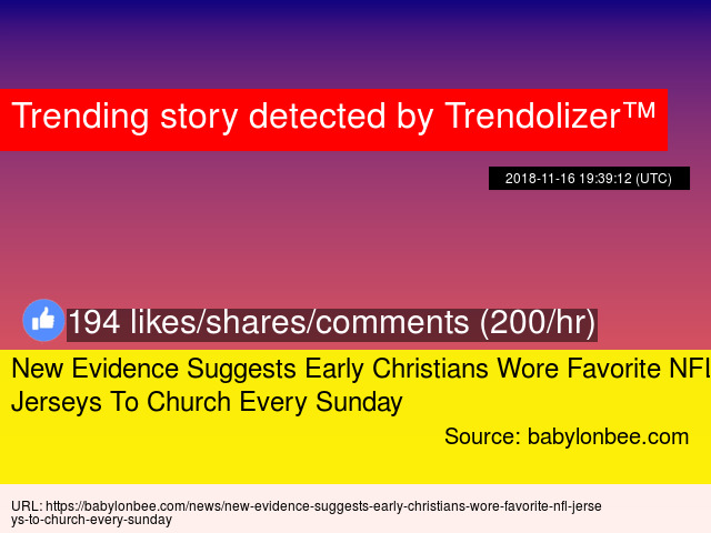 New Evidence Suggests Early Christians Wore Favorite NFL Jerseys To Church  Every Sunday - Stats 7ad2f32fe